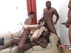 Mega interracial nasty Gangbang Arwen Gold versus huge ass black monster cocks